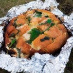 Blooming Bread with Cheese and Spinach Using a knife cut…